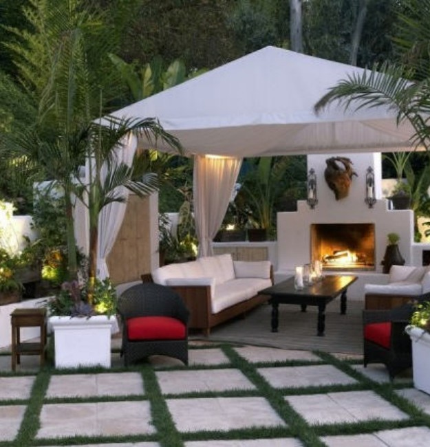 Backyard Fireplace Pictures : Backyard Gazebo with Fireplace  Pergolas  Gazebo