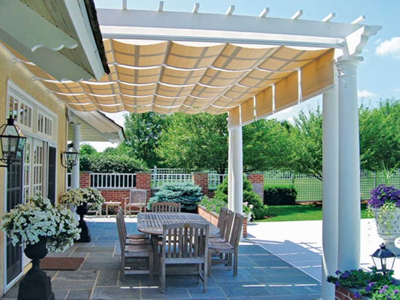 Covered pergola enhances beauty and grandeur of home - Attractive patio gazebo canopy designs for inviting outdoor room ...