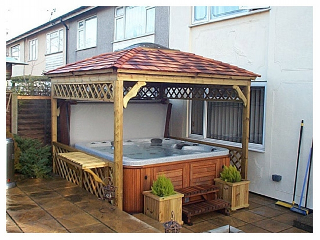 Private hot tub gazebo ideas pergola gazebos for Diy hot tub gazebo