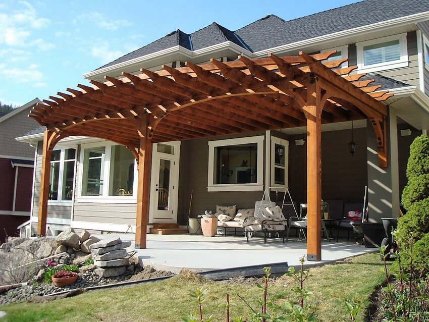 Attached Pergola Designs 13