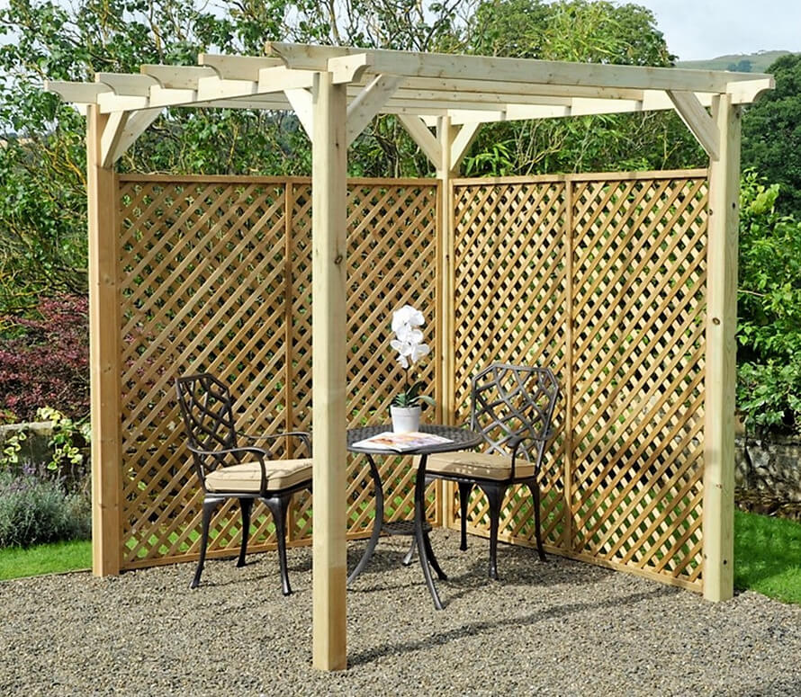 M&M 6' x 6' Coppice Wooden Garden Pergola Kit