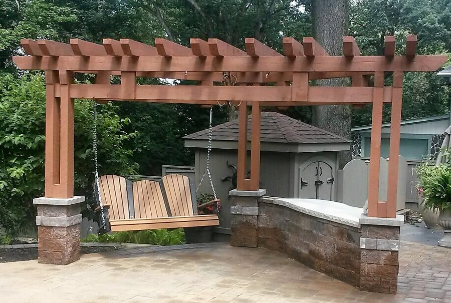Outdoor Plan with Swing Pergola