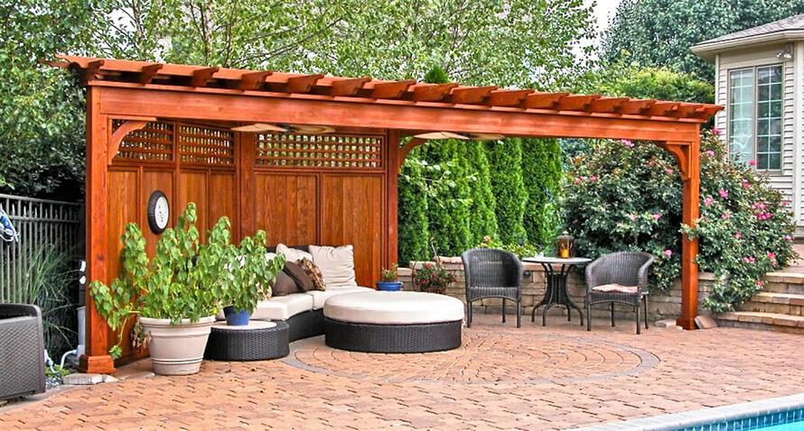 Seating under garden pergola