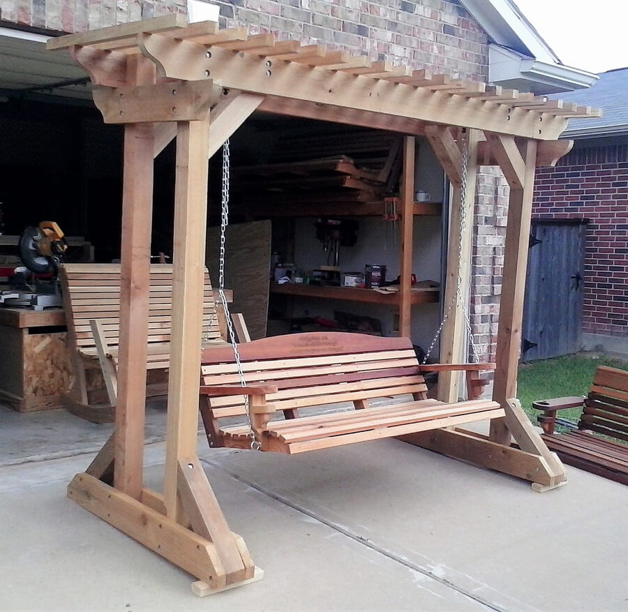Wood Made Swing Pergola