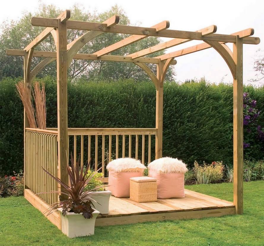 Wooden Garden Pergola and Patio Decking