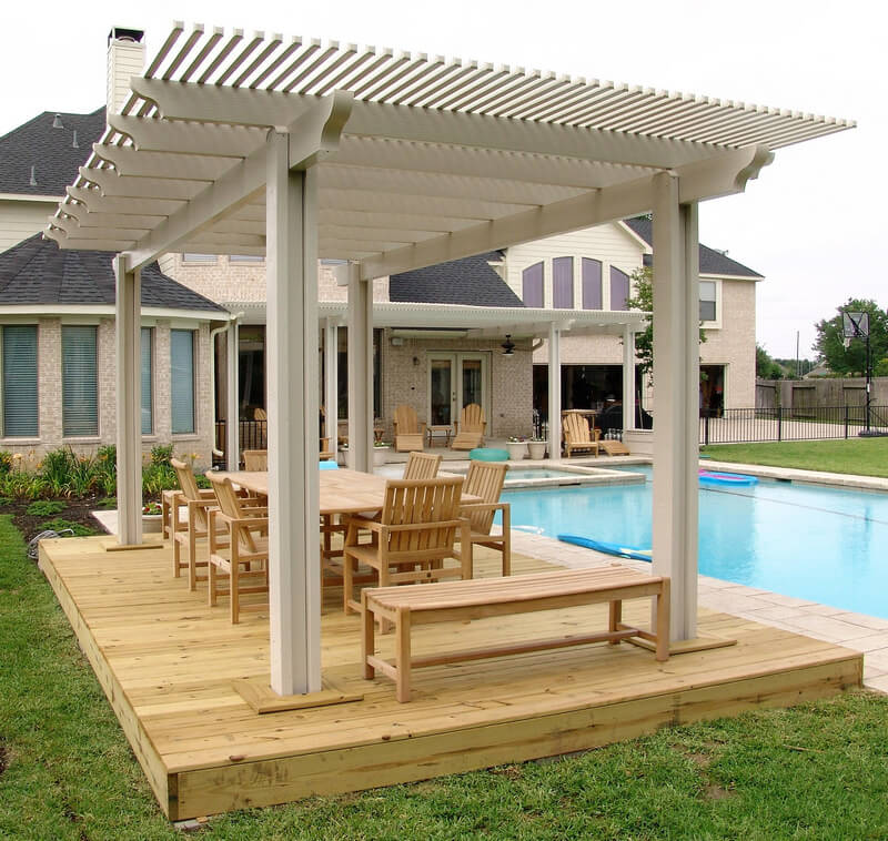 pool pergola dining room idea