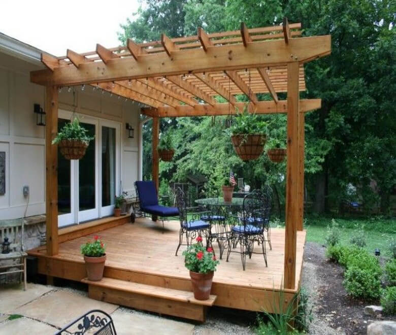 Attached Pergola Ideas 6