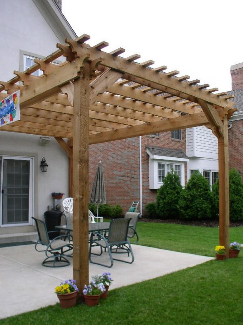 Attached Pergola Ideas 9