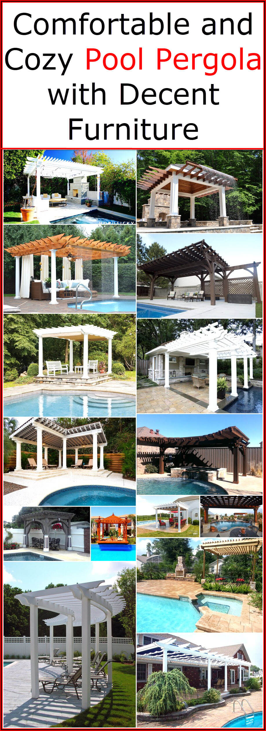 Comfortable and Cozy Pool Pergola with Decent Furniture