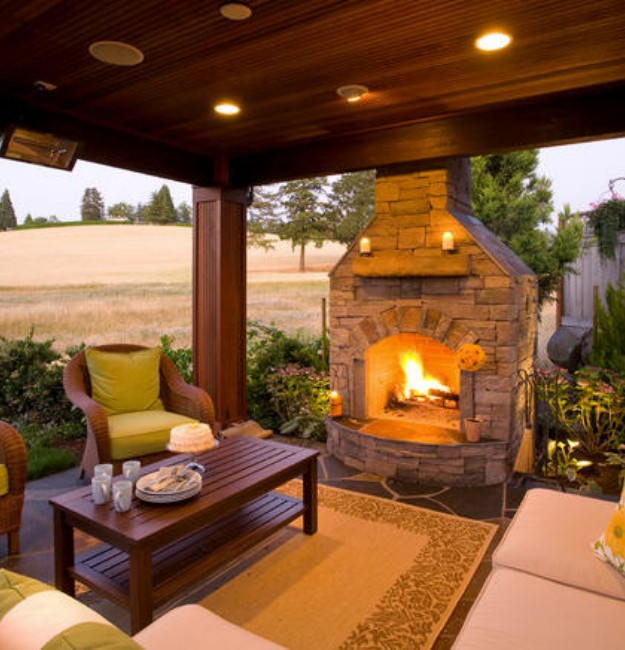 Backyard Gazebo with Fireplace 2