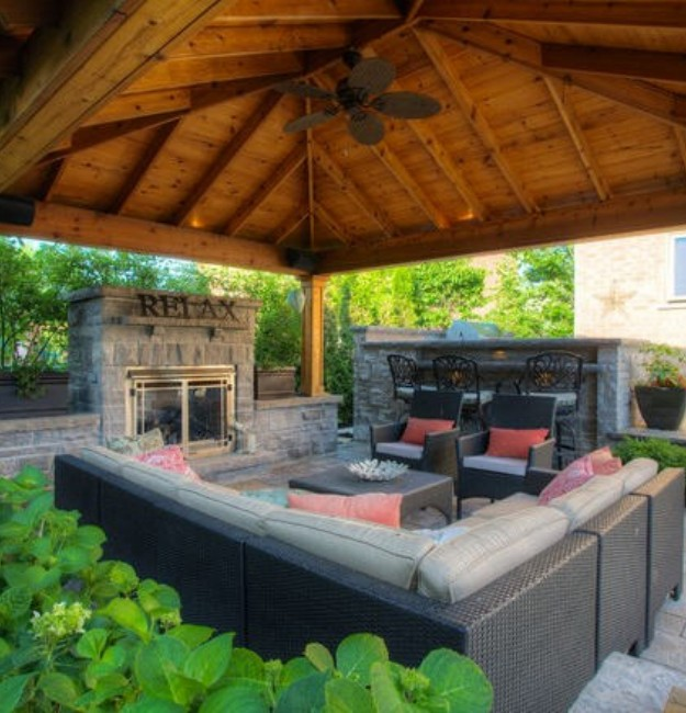 Backyard Gazebo with Fireplace 3