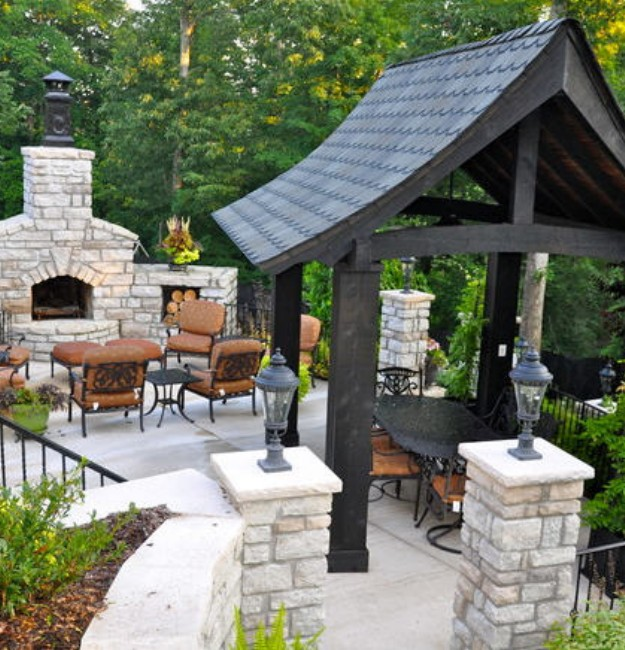 Backyard Gazebo with Fireplace 4