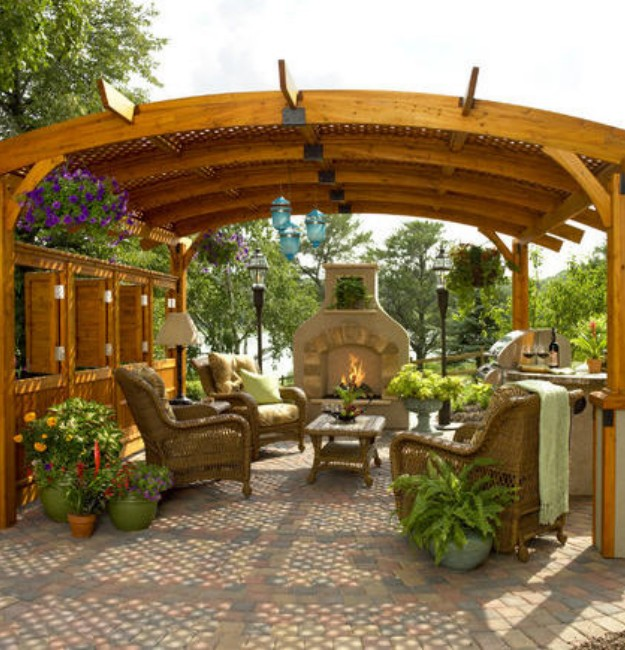Backyard Gazebo with Fireplace 5