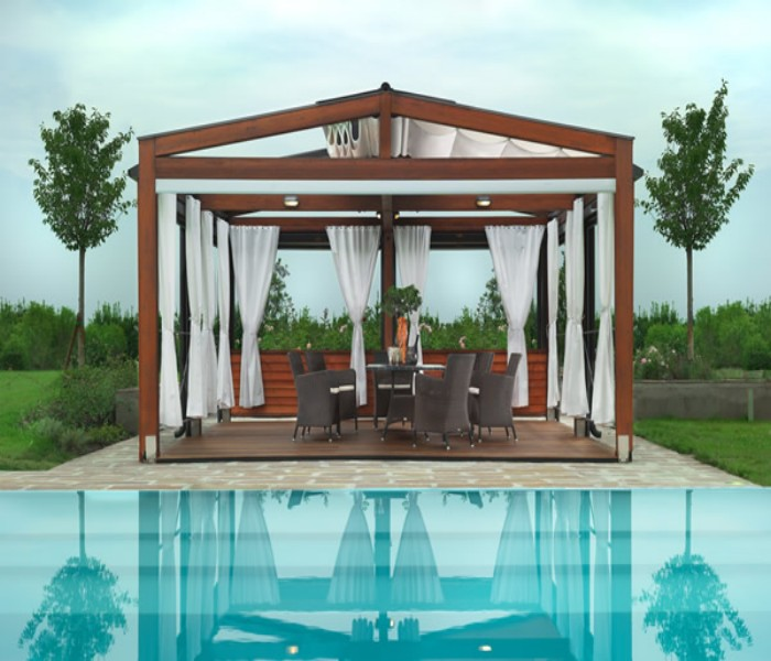 Wooden Deck Pergola for Swimming Pool | Pergola Gazebos