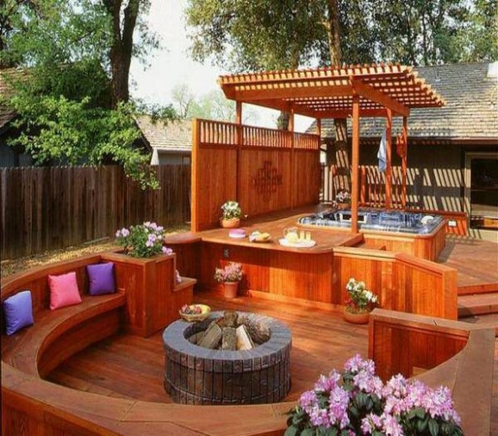 Make An Adorable Fireplace in Pergola Deck for Coming Winters