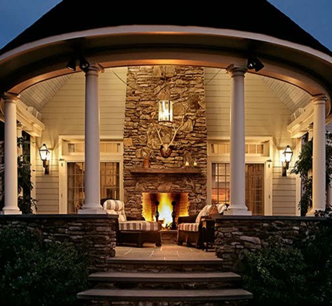 A Beautiful Gazebo Fireplace Ideas: For designing a fireplace gazebo all you need is to make a round two step deck with small bricks on which you have to make a