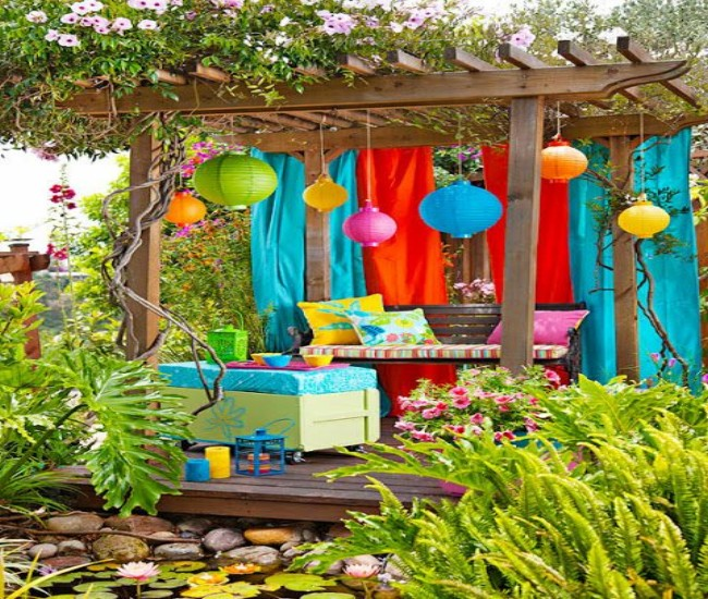 Pergola Decoration with Fabric Curtains