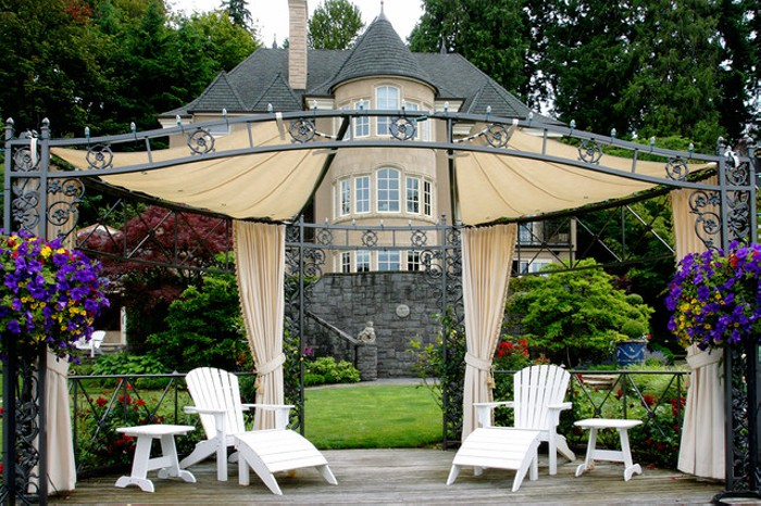 Wonderful and Grandeur Gazebo Deck Standing in Lawn