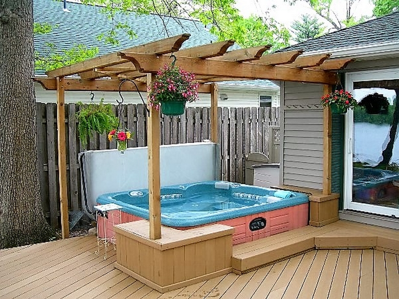 Pergola gazebos ideas designs and diy plans for Diy hot tub gazebo