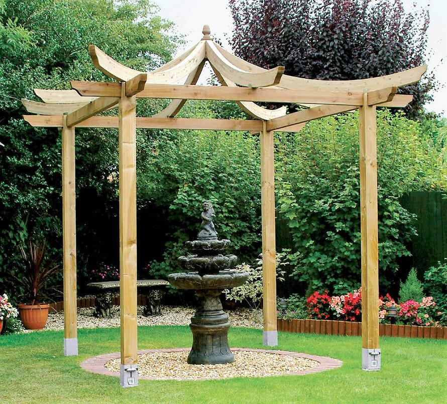 wood pergola in garden