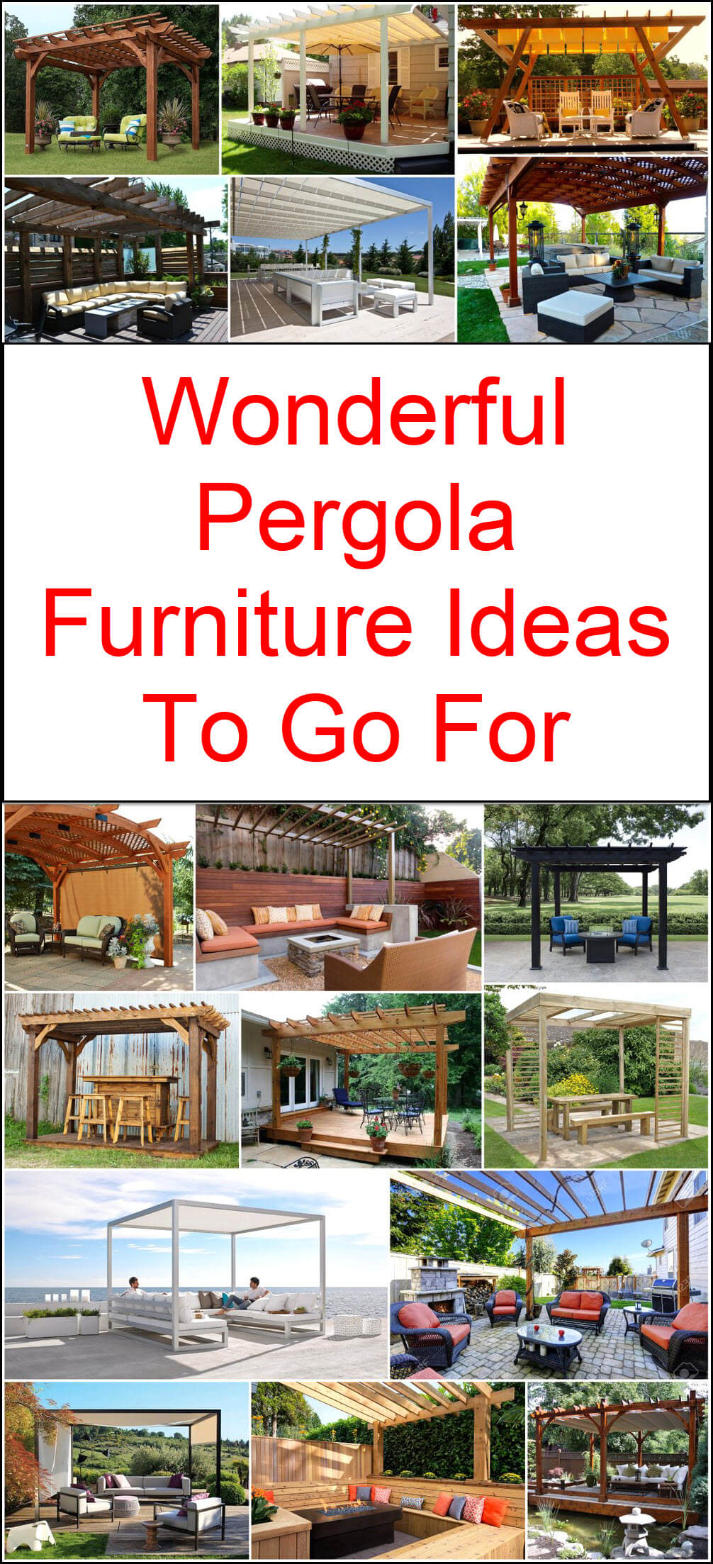 Wonderful Pergola Furniture Ideas To Go For
