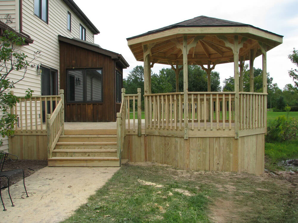 Decks with gazebo stunning additional structure in lawn for Deck with gazebo
