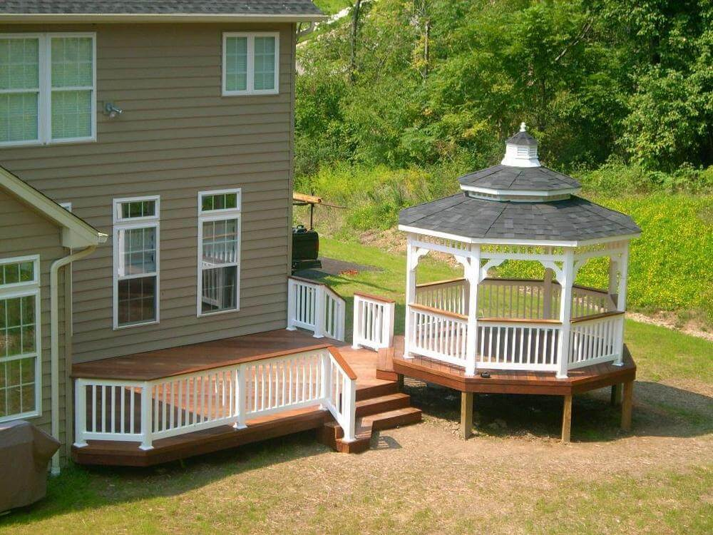 Decks with gazebo stunning additional structure in lawn for Decks and gazebos