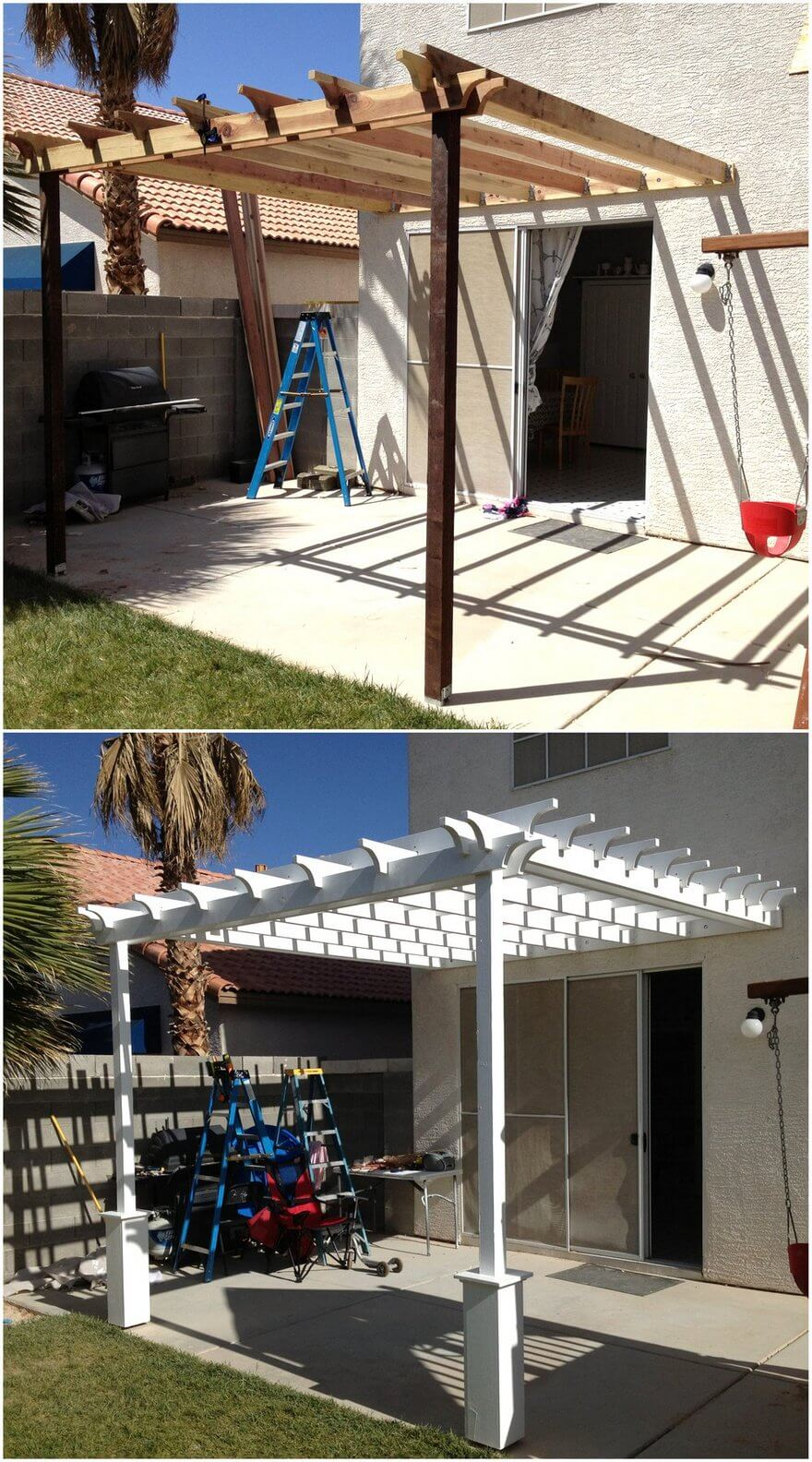 Simple Pergola Attached to House 1