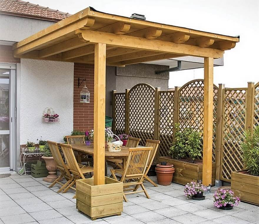 Simple Pergola Attached to House 7