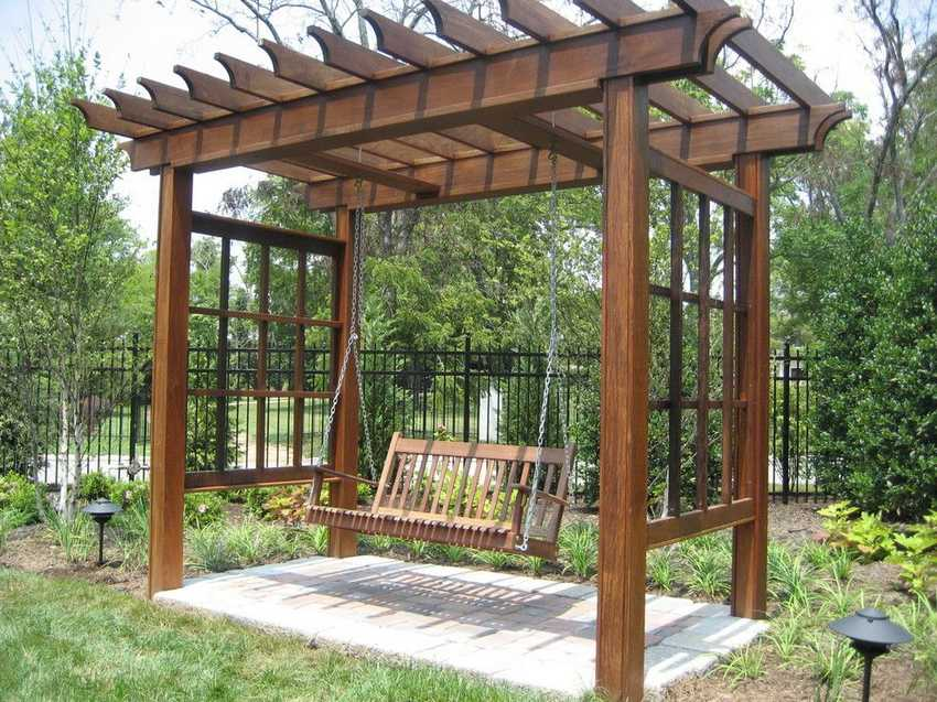 Eye catching design ideas for patio arbors pergola gazebos - Arbor bench plans set ...
